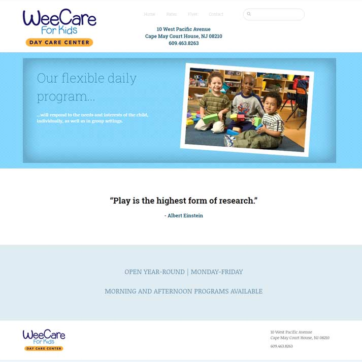 Wee Care Day Care Website