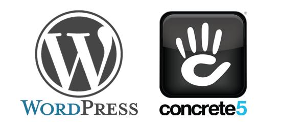WordPress and Concrete5 Logos